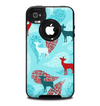 The Blue Fun Colored Deer Vector Skin for the iPhone 4-4s OtterBox Commuter Case