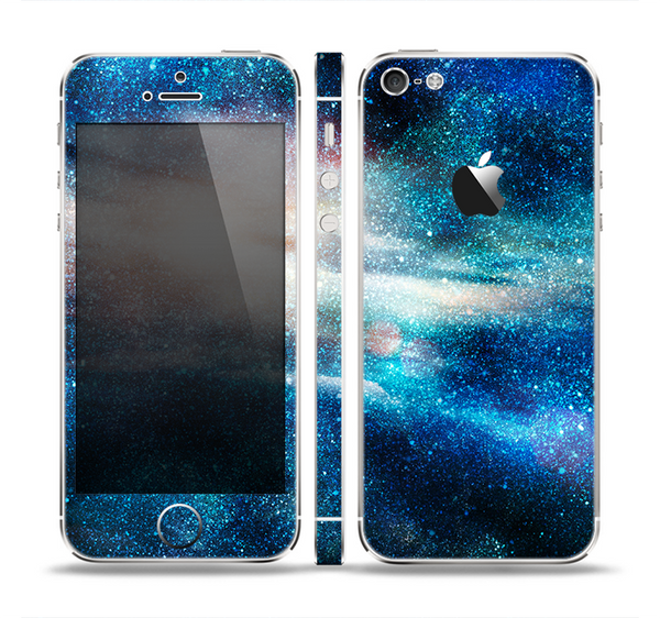 The Blue & Gold Glowing Star-Wave Skin Set for the Apple iPhone 5