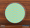 The Blue & Gold Sharp Chevron Pattern Skinned Foam-Backed Coaster Set