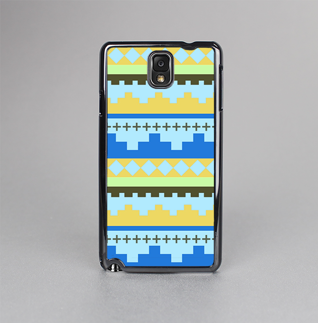 The Blue & Gold Tribal Ethic Geometric Pattern Skin-Sert Case for the Samsung Galaxy Note 3