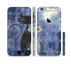 The Blue Grungy Textured Cat Sectioned Skin Series for the Apple iPhone 6 Plus