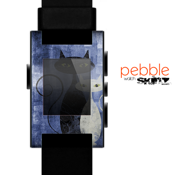 The Blue Grungy Textured Cat Skin for the Pebble SmartWatch