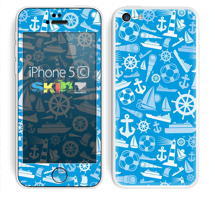 The Blue Nautical Collage Skin for the Apple iPhone 5c
