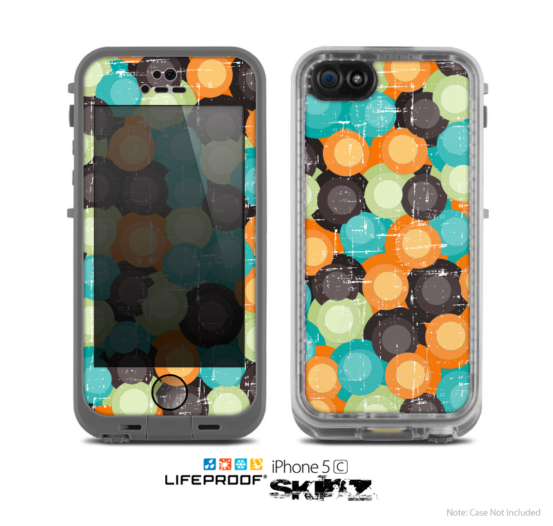 The Blue & Orange Abstract Polka Dots Skin for the Apple iPhone 5c LifeProof Case