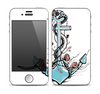 The Blue Pastel Anchor with Roses Skin for the Apple iPhone 4-4s