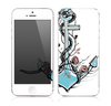 The Blue Pastel Anchor with Roses Skin for the Apple iPhone 5s