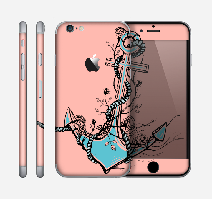 The Blue Pastel Anchor with Roses Skin for the Apple iPhone 6