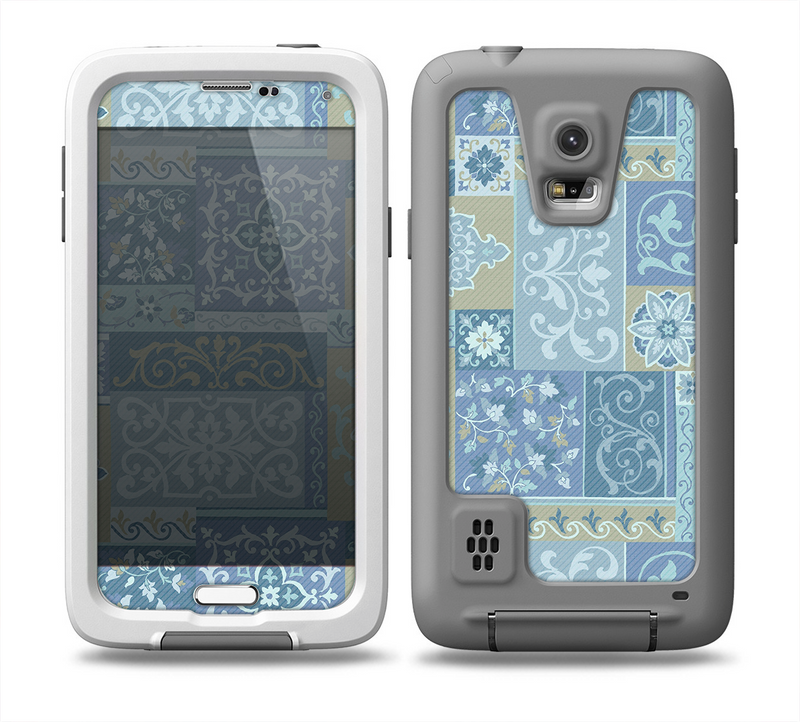 The Blue Patched Paisley Pattern Skin for the Samsung Galaxy S5 frē LifeProof Case