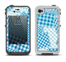 The Blue Plaid Patches Apple iPhone 4-4s LifeProof Fre Case Skin Set