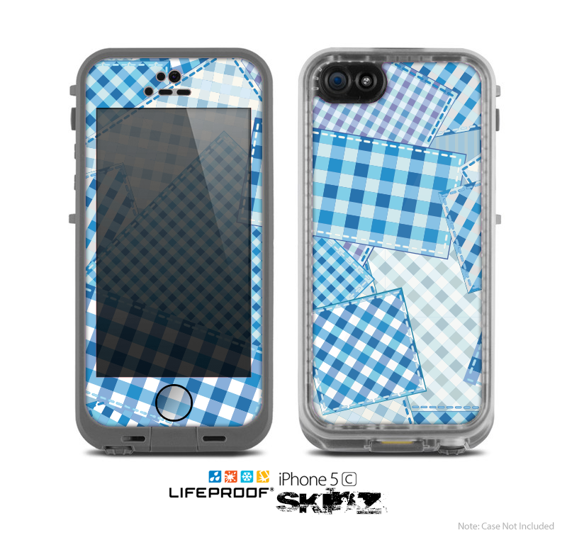 The Blue Plaid Patches Skin for the Apple iPhone 5c LifeProof Case