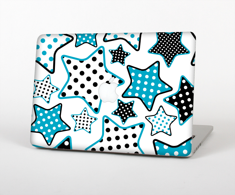 "The Blue Polkadotted Vector Stars Skin Set for the Apple MacBook Pro 15"" with Retina Display"