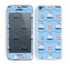 The Blue & Red Nautical Sailboat Pattern Skin for the Apple iPhone 5c