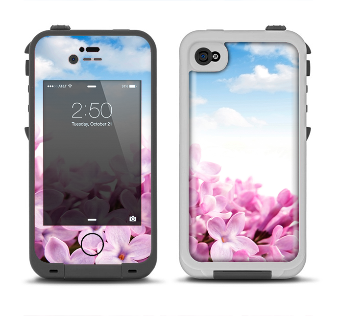 The Blue Sky Pink Flower Field Apple iPhone 4-4s LifeProof Fre Case Skin Set