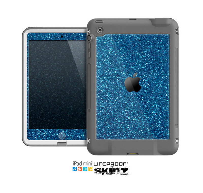 The Blue Sparkly Glitter Ultra Metallic Skin for the Apple iPad Mini LifeProof Case