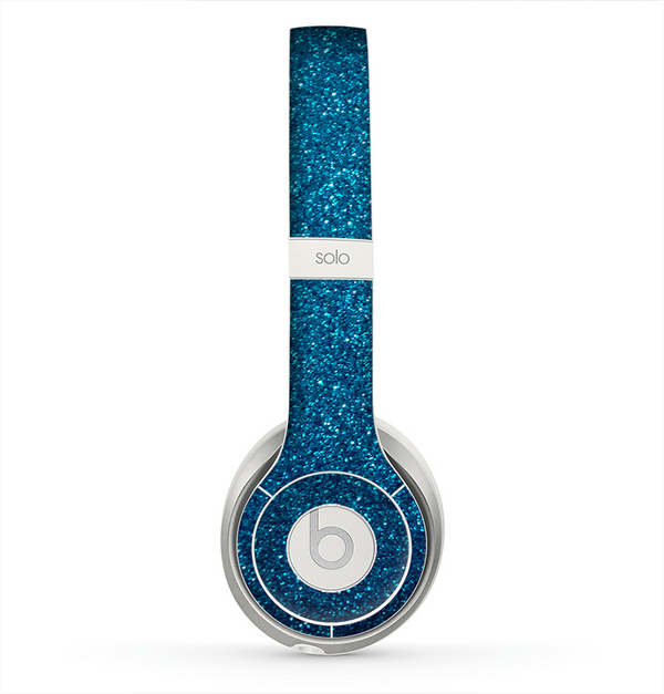 The Blue Sparkly Glitter Ultra Metallic Skin for the Beats by Dre Solo 2 Headphones
