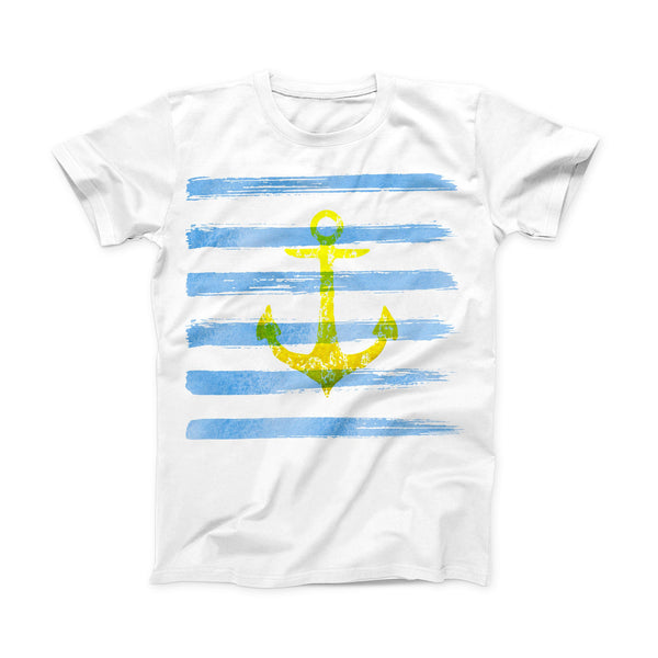 The Blue Striped Watercolor Gold Anchor ink-Fuzed Front Spot Graphic Unisex Soft-Fitted Tee Shirt