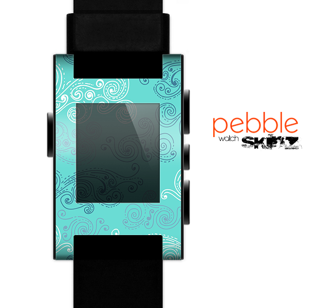 The Blue Swirled Abstract Design Skin for the Pebble SmartWatch