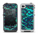 The Blue & Teal Lace Texture Apple iPhone 4-4s LifeProof Fre Case Skin Set