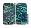 The Blue & Teal Lace Texture Sectioned Skin Series for the Apple iPhone 6