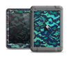 The Blue & Teal Lace Texture Apple iPad Air LifeProof Nuud Case Skin Set