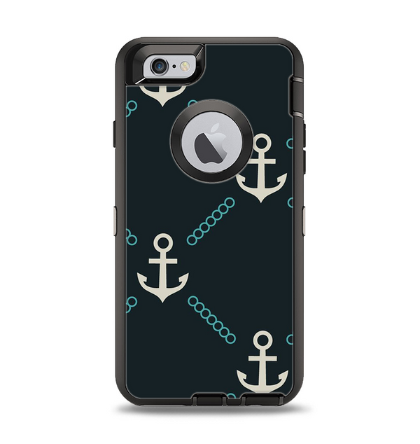 The Blue & Teal Vintage Solid Color Anchor Linked Apple iPhone 6 Otterbox Defender Case Skin Set