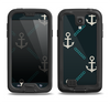 The Blue & Teal Vintage Solid Color Anchor Linked Samsung Galaxy S4 LifeProof Fre Case Skin Set