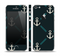 The Blue & Teal Vintage Solid Color Anchor Linked Skin Set for the Apple iPhone 5