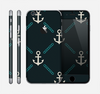 The Blue & Teal Vintage Solid Color Anchor Linked Skin for the Apple iPhone 6