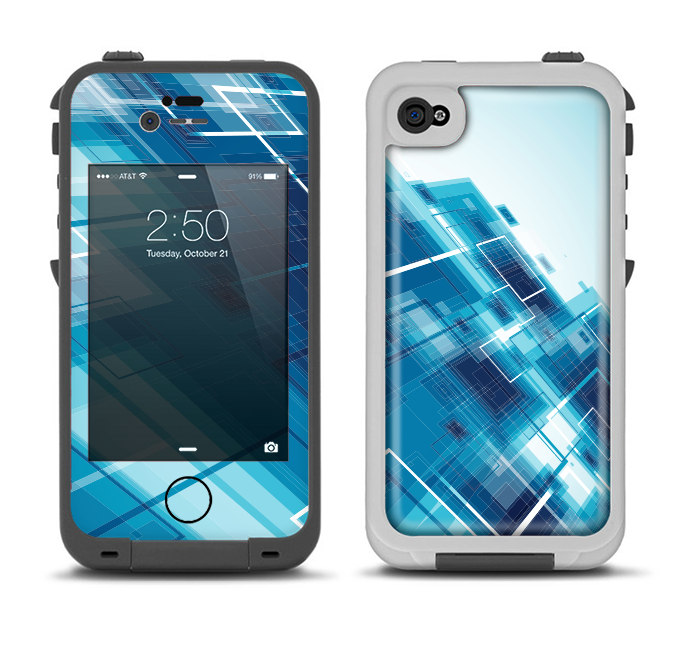 The Blue Transending Squares Apple iPhone 4-4s LifeProof Fre Case Skin Set