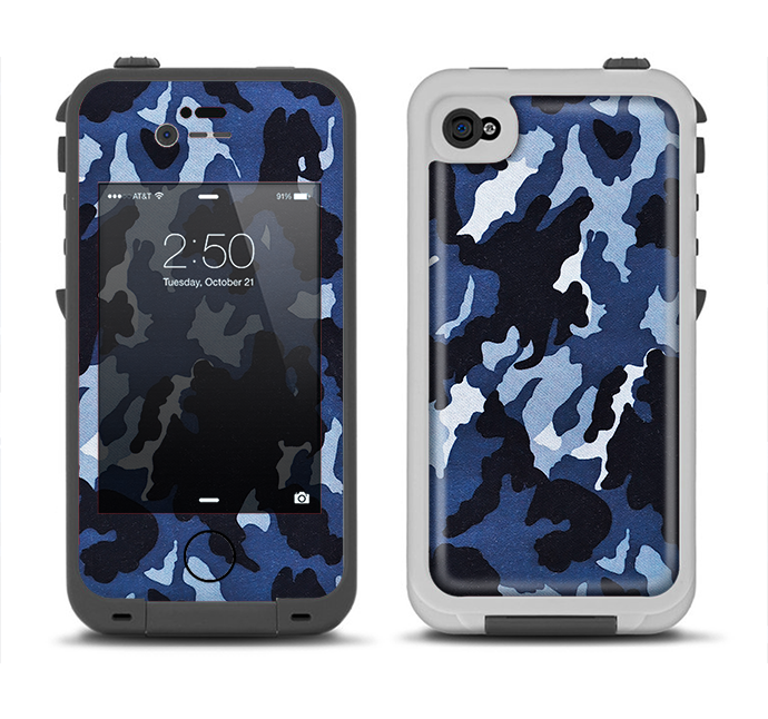 The Blue Vector Camo Apple iPhone 4-4s LifeProof Fre Case Skin Set