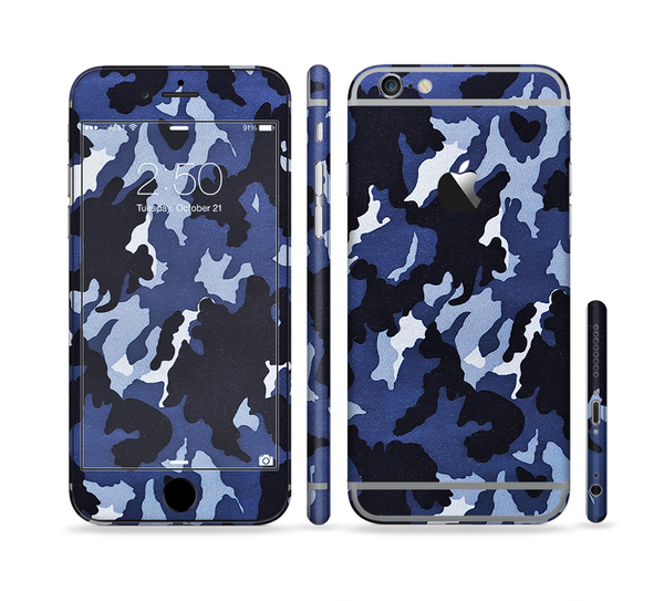 The Blue Vector Camo Sectioned Skin Series for the Apple iPhone 6 Plus