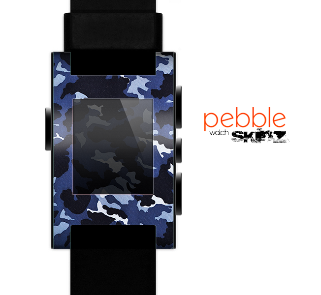 The Blue Vector Camo Skin for the Pebble SmartWatch for the Pebble Watch