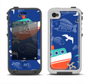 The Blue Vector Fish and Boat Pattern Apple iPhone 4-4s LifeProof Fre Case Skin Set