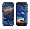 the blue vector fish and boat pattern  iPhone 6/6s Plus LifeProof Fre POWER Case Skin Kit