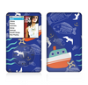 The Blue Vector Fish and Boat Pattern Skin For The Apple iPod Classic