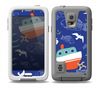 The Blue Vector Fish and Boat Pattern Skin for the Samsung Galaxy S5 frē LifeProof Case