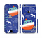 The Blue Vector Fish and Boat Pattern Sectioned Skin Series for the Apple iPhone 6s