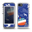 The Blue Vector Fish and Boat Pattern Skin for the iPhone 5-5s OtterBox Preserver WaterProof Case