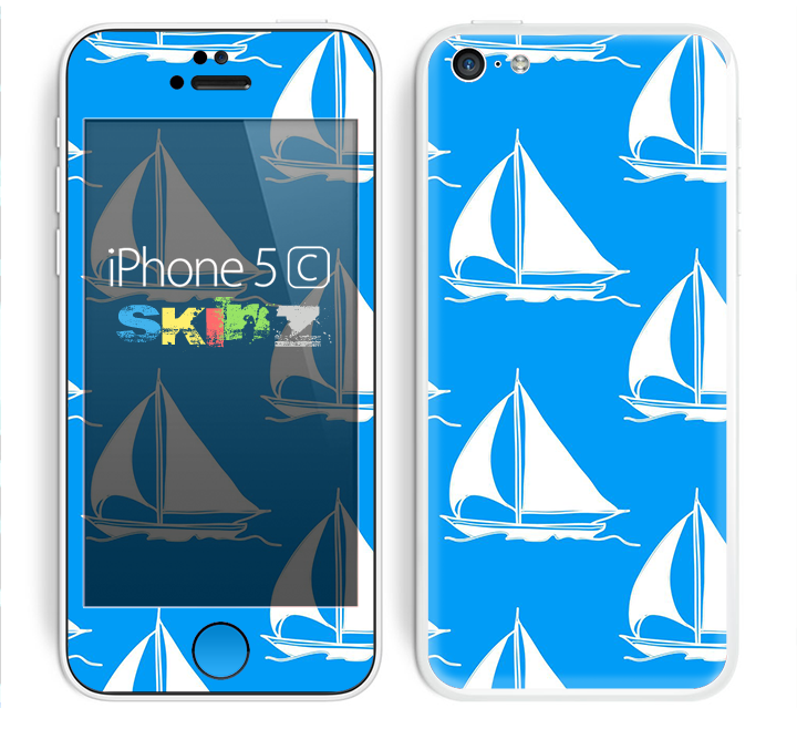 The Blue Vector Sailboats Skin for the Apple iPhone 5c