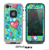 The Blue Vintage Vector Heart Buttons Skin for the iPhone 4 or 5 LifeProof Case