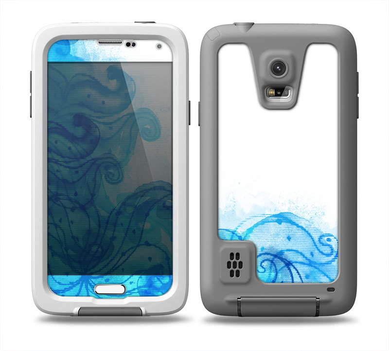 The Blue Water Color Flowers Skin for the Samsung Galaxy S5 frē LifeProof Case