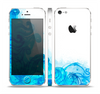 The Blue Water Color Flowers Skin Set for the Apple iPhone 5