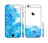 The Blue Water Color Flowers Sectioned Skin Series for the Apple iPhone 6