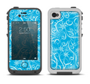 The Blue & White Abstract Swirly Pattern Apple iPhone 4-4s LifeProof Fre Case Skin Set