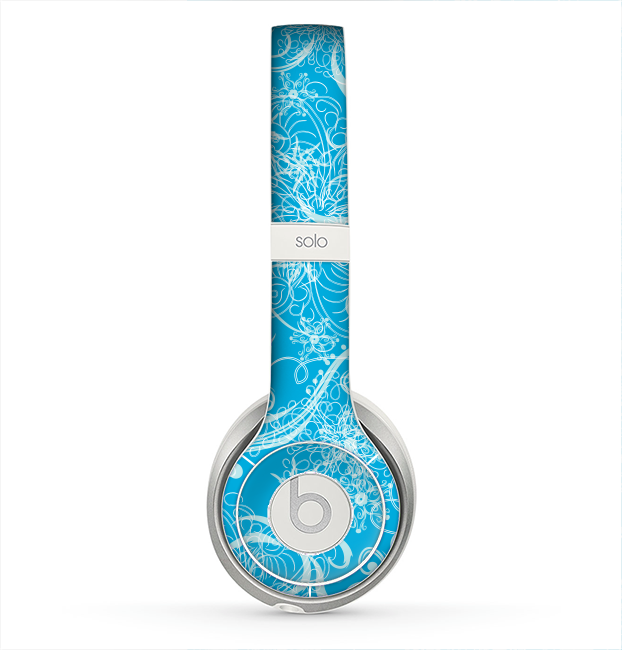 The Blue & White Abstract Swirly Pattern Skin for the Beats by Dre Solo 2 Headphones