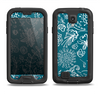 The Blue & White Floral Sketched Lace Patterns v21 Samsung Galaxy S4 LifeProof Fre Case Skin Set
