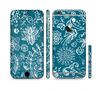 The Blue & White Floral Sketched Lace Patterns v21 Sectioned Skin Series for the Apple iPhone 6