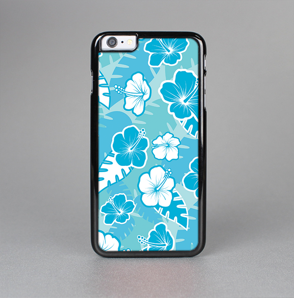The Blue & White Hawaiian Floral Pattern V4 Skin-Sert Case for the Apple iPhone 6 Plus