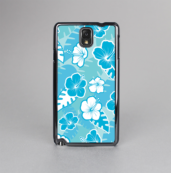 The Blue & White Hawaiian Floral Pattern V4 Skin-Sert Case for the Samsung Galaxy Note 3