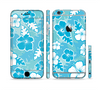 The Blue & White Hawaiian Floral Pattern V4 Sectioned Skin Series for the Apple iPhone 6 Plus